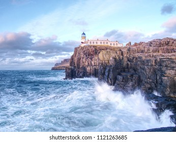 Rocky cliff of Neist Point, Isle of Skye, Scotland, Great Britain, Europe. Must see