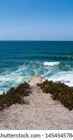 Rocky cliff view of the Portuguese coast. Taken near Praia Das Macas