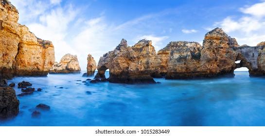 Rocky cliffs of Ponta da Piedade at Lagos, Portugal.