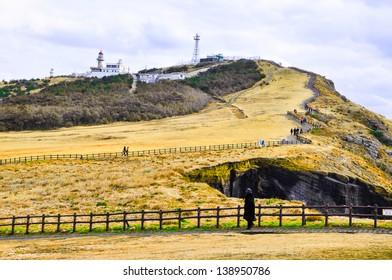 Rocky cliffs in Udo island, Korea. Udo is a small and famous tourist island near Jeju island, South Korea