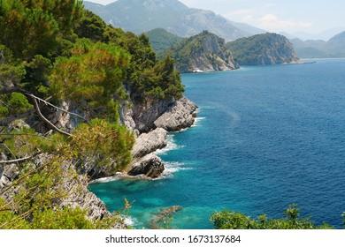 Rocky coast of Adriatic Sea in Montenegro