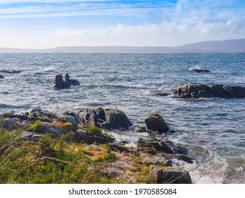 Rocky coast of Arruda cape in Arousa Island, Galicia, Spain