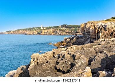 Rocky coast of the Atlantic Ocean. Cape Roca, Portugal, Europe.