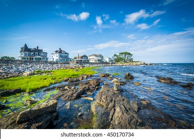 Rocky coast and beachfront homes at Concord Point, in Rye, New Hampshire.
