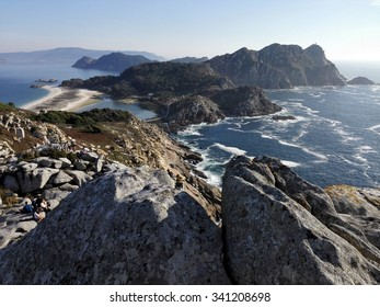 rocky coast of cies island in galicia spain