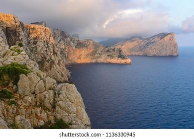 Rocky coast at Formentor cape, Majorca, Spain