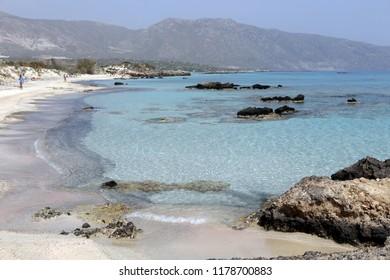 Rocky coast of the island of Crete. Beach in Crete. Landscapes of the Mediterranean Sea. Elafonissi beach
