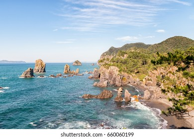 Rocky Coast of the Japan Sea - Omijima in Yamaguchi, Japan