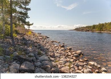 Rocky coast of lake. A landscape