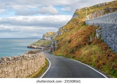 Rocky coast in Landudno , England, UK