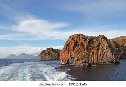 Rocky coast of Lipari, Aeolian Islands, Italy