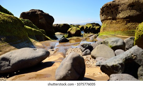 Rocky coast at low tide, The confital, Gran canaria, Canary islands