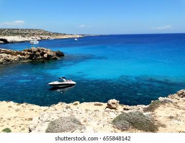 rocky coast in the mediterranean sea landscape on Cyprus island