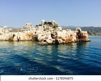 Rocky coast of the Mediterranean/'Adrasan' village,ANTALYA,TURKEY 17.07.2015