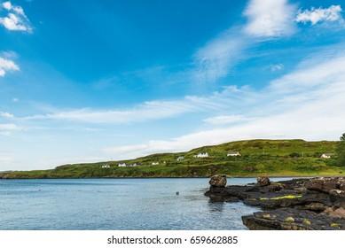 Rocky coast near fiscavaig on isle of skye. Scotland.