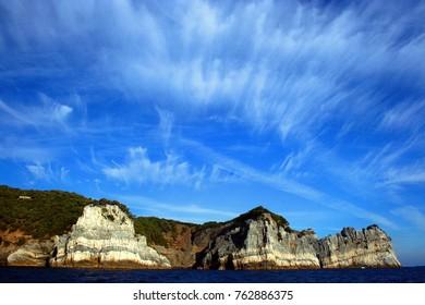Rocky coast with Palmaria island