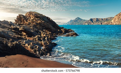 Rocky coast of Portman. Located between La Manga and Cartagena. Murcia, Spain