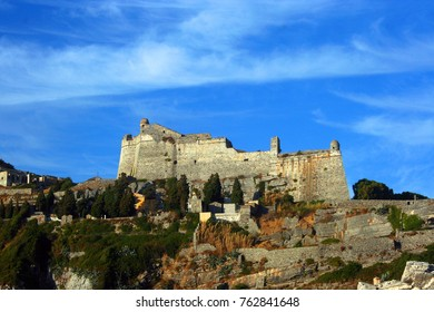 Rocky coast of Portovenere with the castle