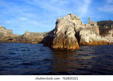 Rocky coast of Portovenere with the church of St. Peter