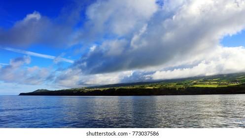 Rocky coast at Sao Rogue on Sao Miguel Island. The island of Sao Miguel is part of the Azores archipelago Portugal