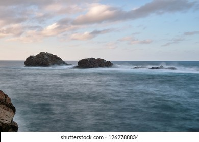 The rocky coast of Taganana with the formations of Los Roques de Anaga in the northeast coast of Tenerife, Canary Islands.