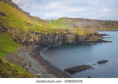 Rocky, coastal Atlantic shoreline seascape of Croc Rock at Culnacnoc on the Isle of Skye, Scottish Isles, Scotland.