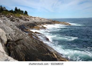 A rocky coastline along the Atlantic Ocean in Maine