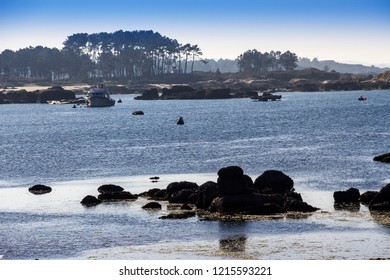 Rocky coastline in Arousa Islan, Galicia, Spain