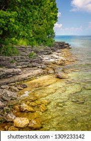 rocky coastline at Door County, Wisconsin's Cave Point on the coast of Lake Michigan