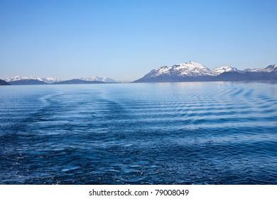 Rocky coastline in the horizon