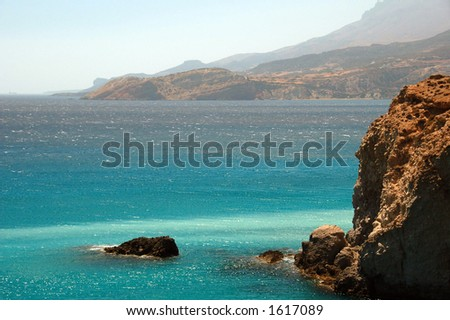 rocky coastline in Milos island Greece