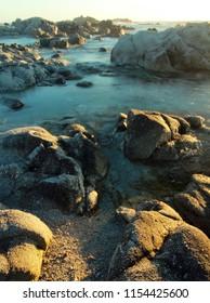 Rocky coastline of Monterey Peninsula, near Monterey and Carmel, California, United States of America (USA)