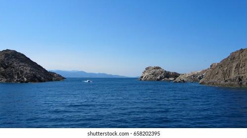 Rocky coastline in the northern Costa Brava, Girona province, Catalonia, Spain