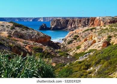 Rocky coastline in Sagres on Portugal's Algarve coast