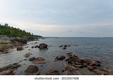 The rocky coastline at the southern edge of Brommö in lake Vänern.