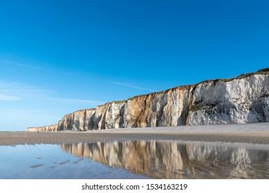 Rocky coastline in Veules-les-Rose, Normandy, France