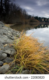 A rocky and colorful shoreline by a calm lake in autumn.