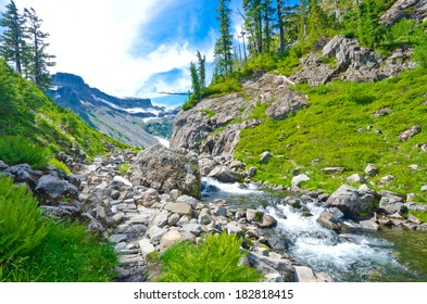Rocky creek in the mountains. Gorgeous view, outlook, panorama at the Mount Baker lands and wilderness and rocky grounds. North America.