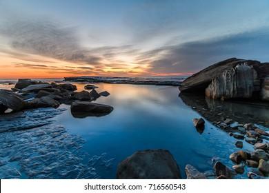 Rocky Dawn Seascape - The Skillion at Terrigal, Central Coast, NSW, Australia.