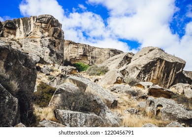 Rocky desert area in Gobustan national park ancient rocks, nature of Azerbaijan