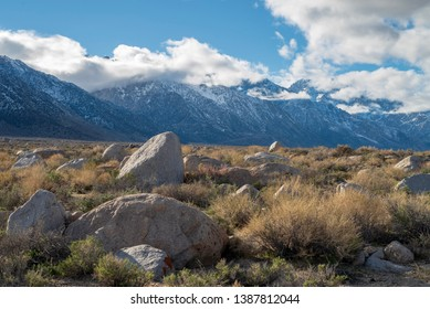 rocky desert landscape at base of Alabama Hills of Eastern Sierra Nevadas California, USA