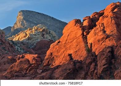 Rocky desert landscape at sunset, Red Rock Canyon National Recreation Area, Las, Vegas, Nevada, USA