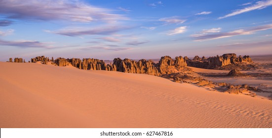 Rocky desert Landscape of Tassili du Hoggar - The pikes of Tin Akachaker