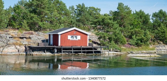 Rocky east coast at sea archipelago in Sweden.