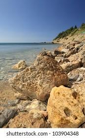 Rocky Eroded Coastline of Katakolon, Greece