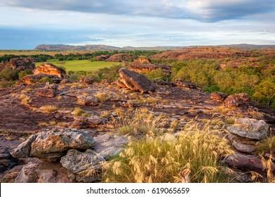 Rocky Escarpment characterizes a large part of Kakadu National Park, NT, Australia. A superb place to get a view across the open floodplains and across Arnhem Land escarpment is Ubirr Rock.