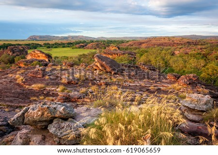 Rocky Escarpment characterizes a large part of Kakadu National Park, NT, Australia. A superb place to get a view across the open floodplains and across Arnhem Land escarpment is Ubirr Rock.
