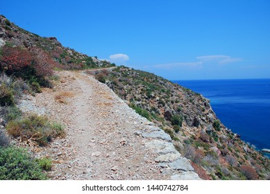 The rocky footpath from Livadia to Lethra beach on the Greek island of Tilos.
