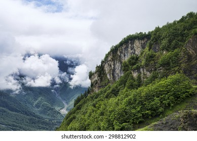Rocky forest cliff among clouds in alps