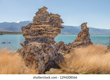 Rocky formations called tufa rise up on the shores of Mono Lake, California.